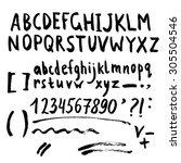 hand drawn brush stroke font... | Shutterstock .eps vector #305504546