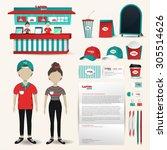 fast food restaurant business... | Shutterstock .eps vector #305514626