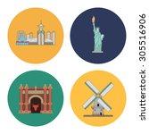 3 flat landmark icons | Shutterstock .eps vector #305516906