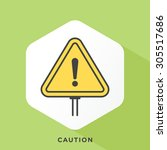 caution sign icon with dark... | Shutterstock .eps vector #305517686