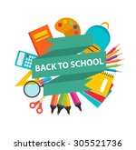 back to school sign with school ... | Shutterstock .eps vector #305521736