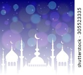 card with mosque on deep blue... | Shutterstock . vector #305523335