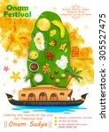 illustration of onam feast on... | Shutterstock .eps vector #305527475