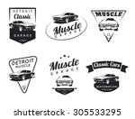 set of classic muscle car logo  ... | Shutterstock .eps vector #305533295