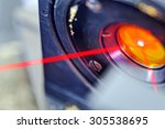 Red Laser On Optical Table In...