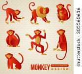 Set Of Chinese Zodiac   Monkey...