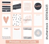 set of vintage creative cards... | Shutterstock .eps vector #305565635