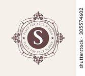 the letter s. flourishes... | Shutterstock .eps vector #305574602