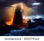the fall of the babylon.... | Shutterstock . vector #305579162