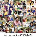 diversity college student...   Shutterstock . vector #305604476