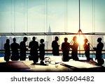 back lit business people... | Shutterstock . vector #305604482