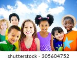 diversity children friendship...   Shutterstock . vector #305604752