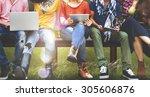 youth friends friendship... | Shutterstock . vector #305606876