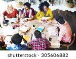 diverse group people working...   Shutterstock . vector #305606882
