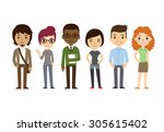diverse college or university... | Shutterstock . vector #305615402