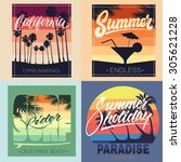 set of summer hand lettered... | Shutterstock .eps vector #305621228