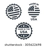 set of three simple round made... | Shutterstock .eps vector #305622698