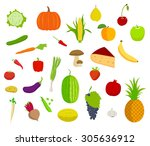 set of fruits and vegetables... | Shutterstock .eps vector #305636912