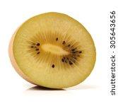 Small photo of golden kiwifruit/ kiwi (Actinidia chinensis) on white background