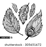 amazing feathers with dots ... | Shutterstock .eps vector #305651672