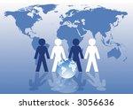 paper chain men map team...   Shutterstock .eps vector #3056636