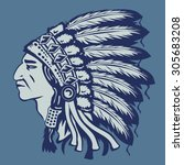 indian chief illustration  t... | Shutterstock .eps vector #305683208