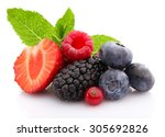 Mix Of Fresh Berries Isolated...