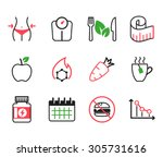 set of diet icons | Shutterstock .eps vector #305731616