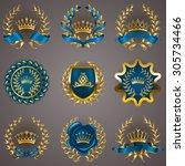 set of luxury gold labels ... | Shutterstock .eps vector #305734466