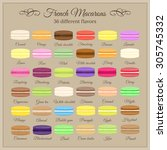 colorful french macarons with... | Shutterstock .eps vector #305745332