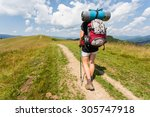 hiker girl with backpack... | Shutterstock . vector #305747918