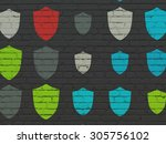 security concept  painted... | Shutterstock . vector #305756102