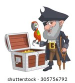 old pirate with his treasure... | Shutterstock .eps vector #305756792