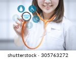 health check up with doctor... | Shutterstock . vector #305763272