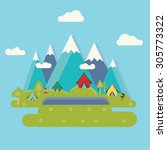 camping landscape with tent....   Shutterstock .eps vector #305773322