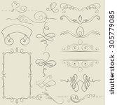 set. frames and borders. hand... | Shutterstock . vector #305779085