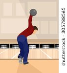 vector illustration of a bowler ... | Shutterstock .eps vector #305788565