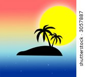 lonely island with palms  ... | Shutterstock .eps vector #3057887