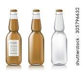 transparent glass beer bottle.... | Shutterstock .eps vector #305796632