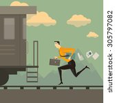 man running after the train.... | Shutterstock .eps vector #305797082