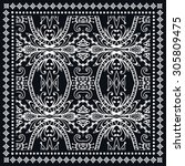 black bandana print  silk neck... | Shutterstock .eps vector #305809475