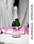 bottle of champagne in the... | Shutterstock . vector #305812436