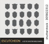 a set of 20 vector shield... | Shutterstock .eps vector #305822312