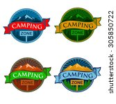 camping zone sign | Shutterstock .eps vector #305850722