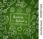 hand drawn school supplies... | Shutterstock .eps vector #305857265