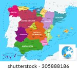 political map of spain with... | Shutterstock .eps vector #305888186