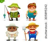 farm professions set 1 | Shutterstock .eps vector #305895242