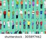 multiethnic casual people... | Shutterstock . vector #305897462