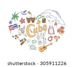 set of hand drawn cuba icons ... | Shutterstock .eps vector #305911226