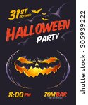 halloween party poster template.... | Shutterstock .eps vector #305939222